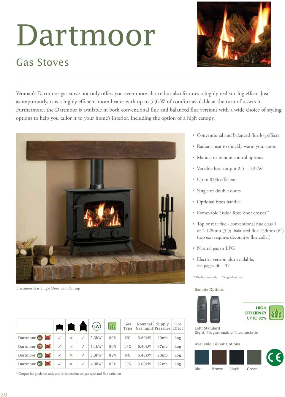 Furthermore, the Dartmoor is available in both conventional flue and balanced flue versions with a wide choice of styling options to help you tailor it to your home s interior, including the option