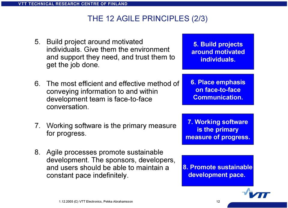Agile processes promote sustainable development. The sponsors, developers, and users should be able to maintain a constant pace indefinitely. 5.