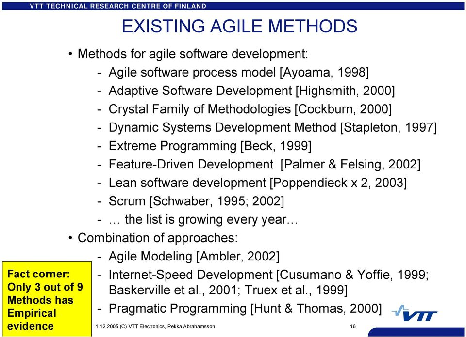 Development [Palmer & Felsing, 2002] Lean software development [Poppendieck x 2, 2003] Scrum [Schwaber, 1995; 2002] the list is growing every year Combination of approaches: Agile Modeling