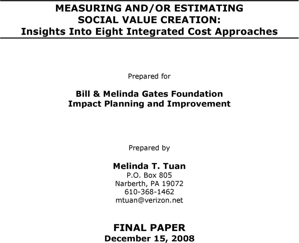 Impact Planning and Imprvement Prepared by Melinda T. Tuan P.O.