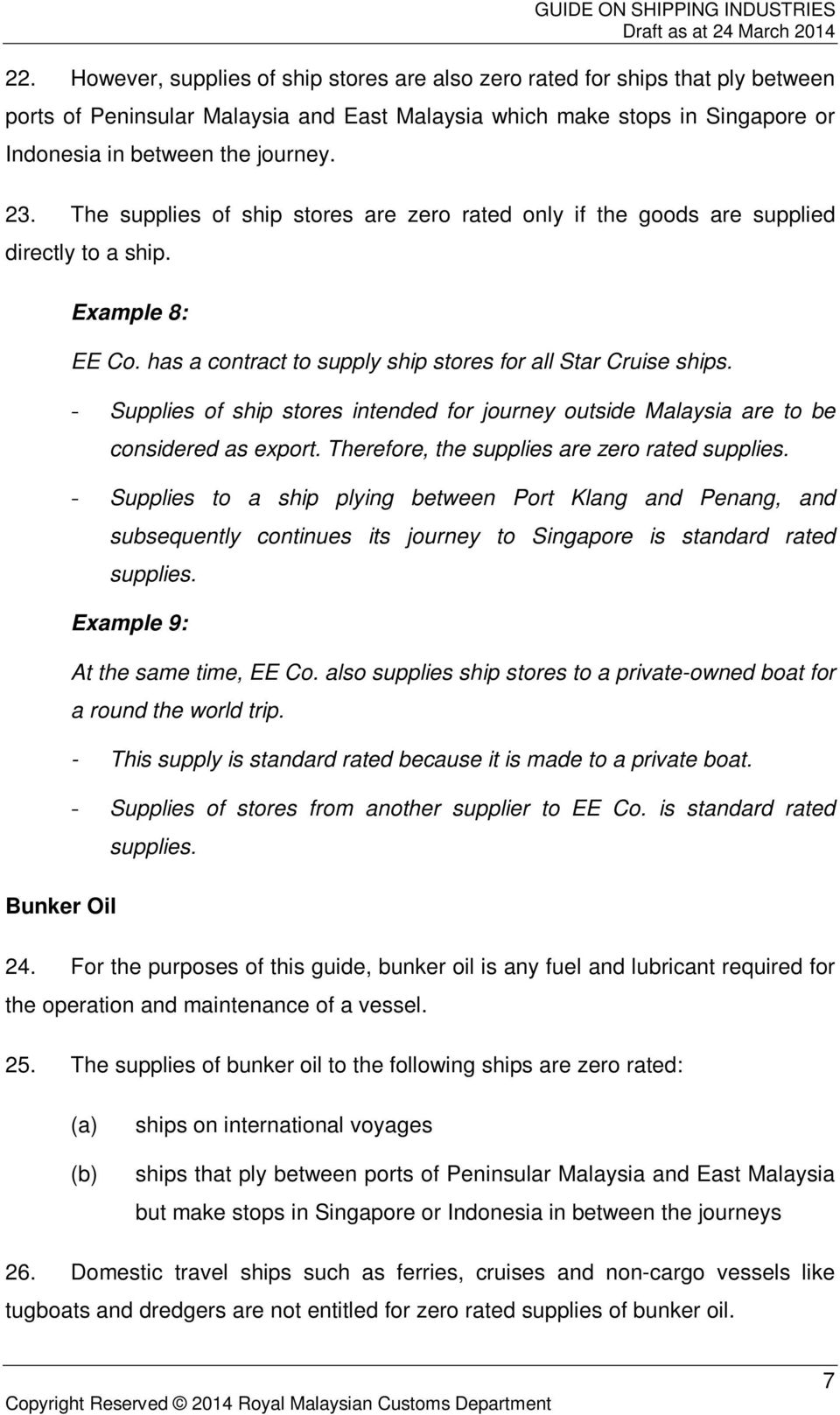 - Supplies of ship stores intended for journey outside Malaysia are to be considered as export. Therefore, the supplies are zero rated supplies.