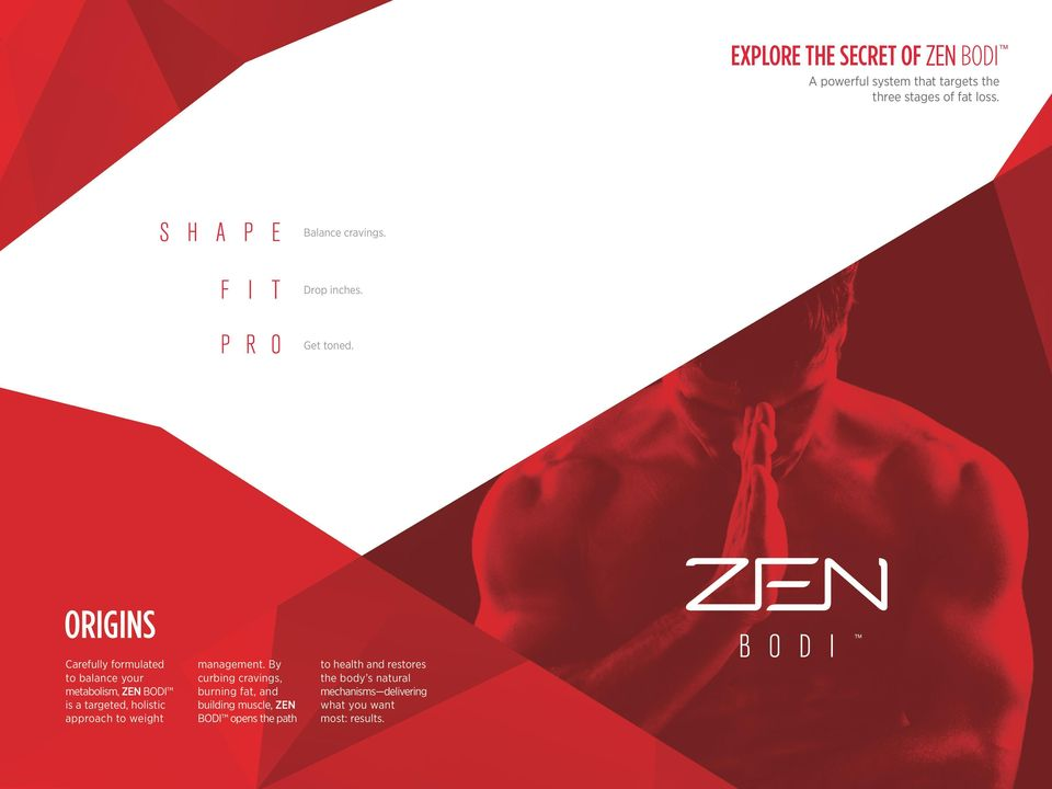 ORIGINS Carefully formulated to balance your metabolism, ZEN BODI is a targeted, holistic approach to