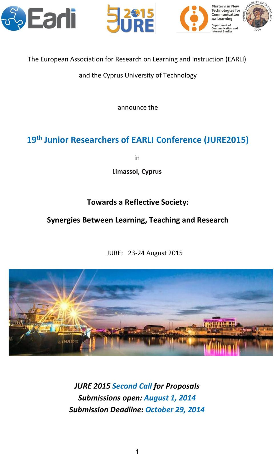 Towards a Reflective Society: Synergies Between Learning, Teaching and Research JURE: 23-24 August 2015