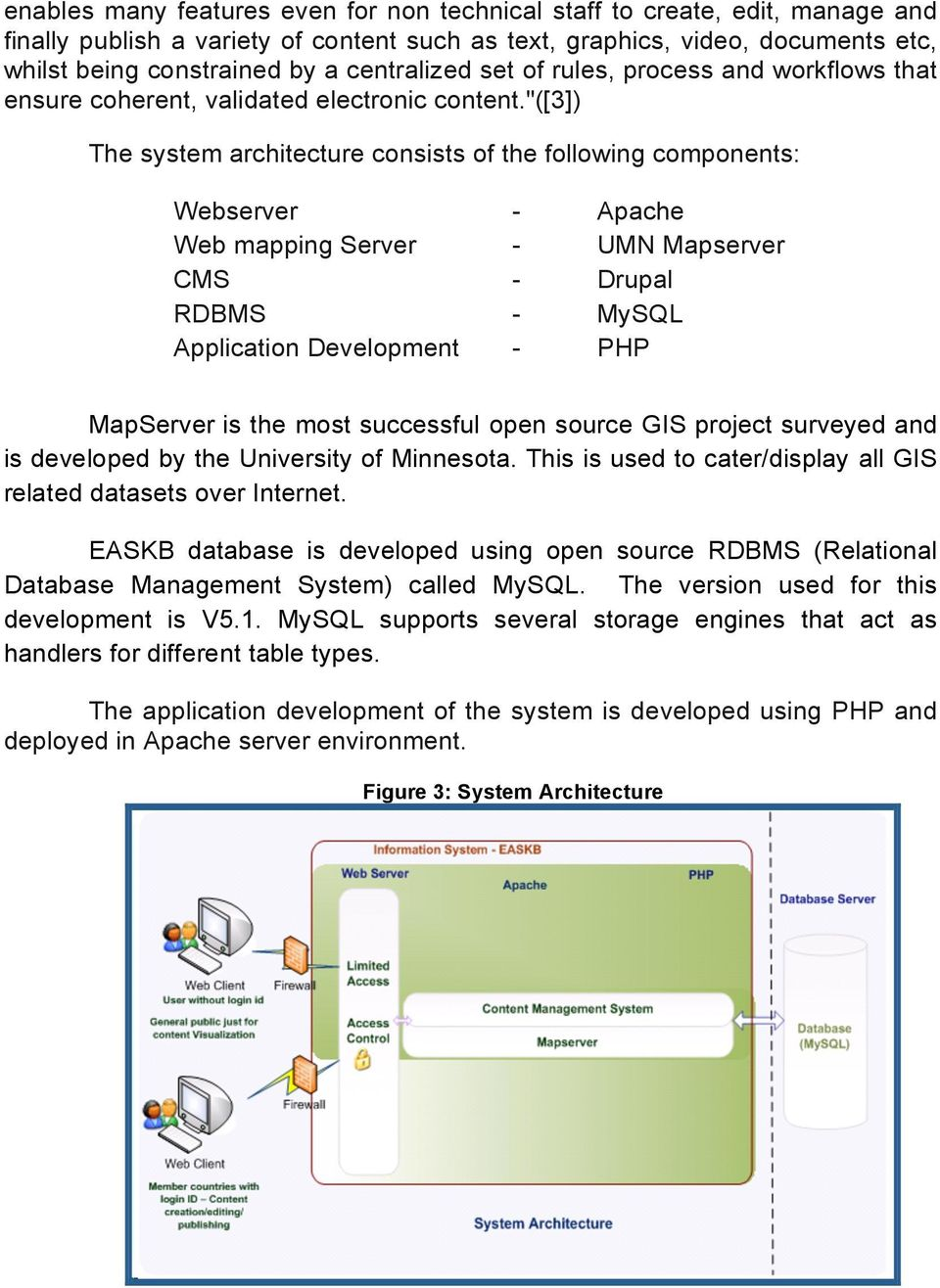 """([3]) The system architecture consists of the following components: Webserver - Apache Web mapping Server - UMN Mapserver CMS - Drupal RDBMS - MySQL Application Development - PHP MapServer is the"