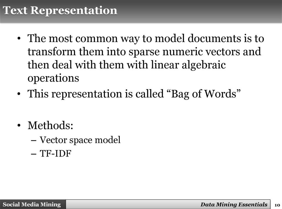 with linear algebraic operations This representation is called Bag
