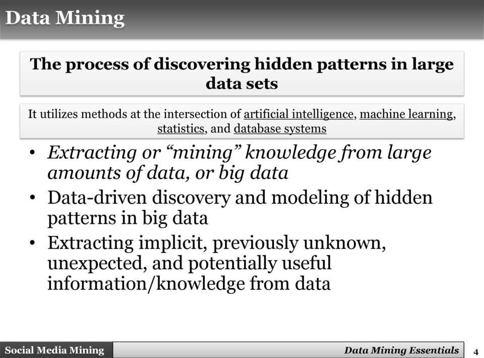 large amounts of data, or big data Data-driven discovery and modeling of hidden patterns in big data Extracting