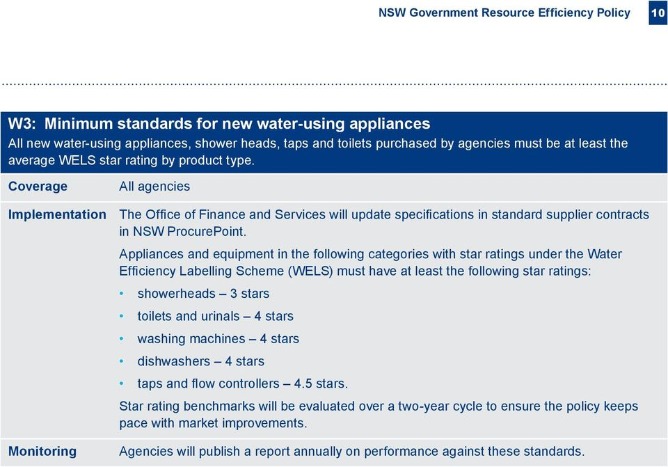 Appliances and equipment in the following categories with star ratings under the Water Efficiency Labelling Scheme (WELS) must have at least the following star ratings: showerheads 3 stars toilets