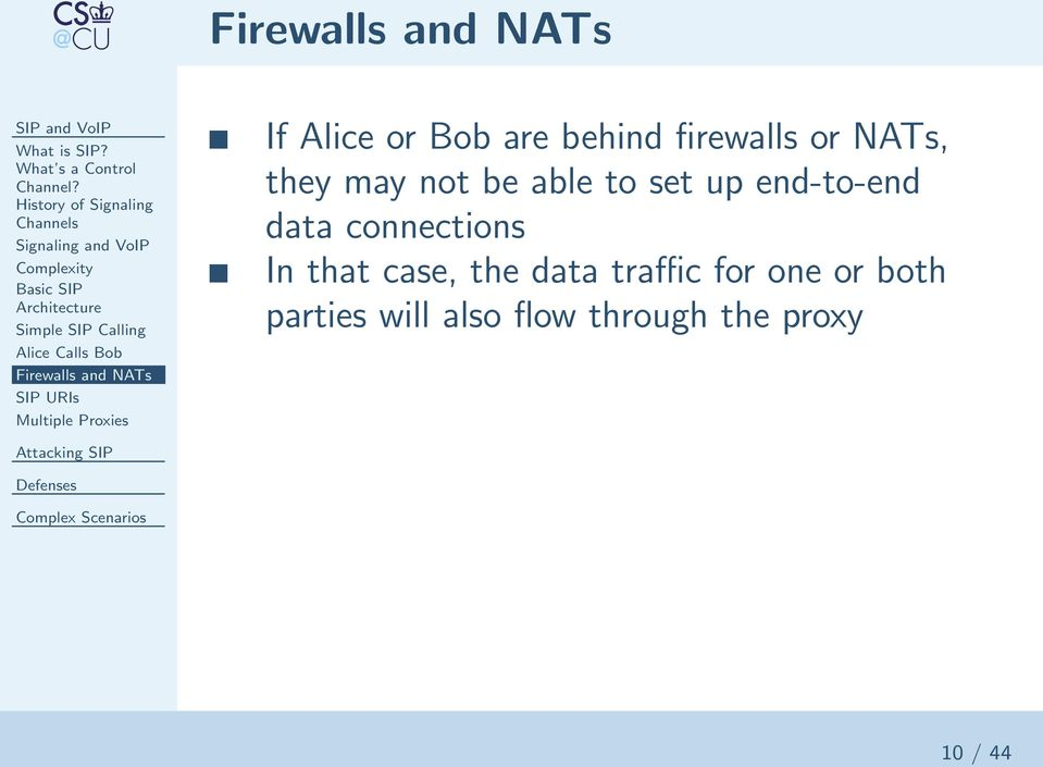 Alice Calls Bob Firewalls and NATs SIP URIs Multiple Proxies If Alice or Bob are behind firewalls or