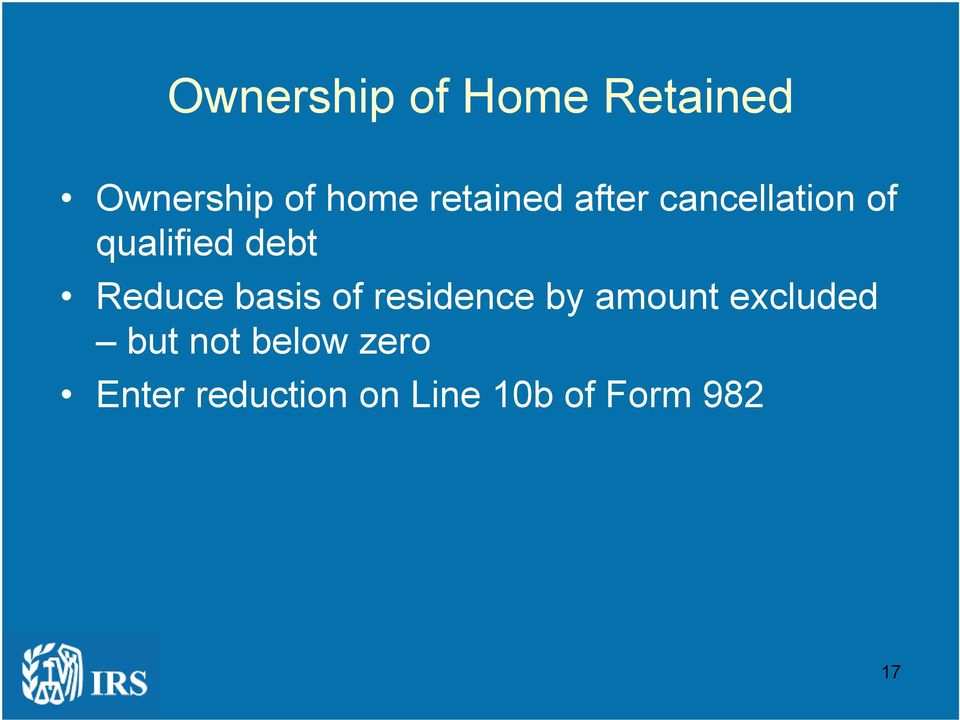 Reduce basis of residence by amount excluded but