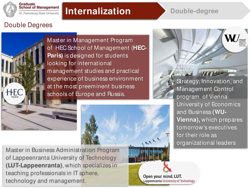 Master in Business Administration Program of Lappeenranta University of Technology (LUT-Lappeenranta), which specializes in teaching professionals in IT sphere,