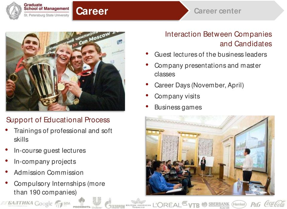Career center Interaction Between Companies and Candidates Guest lectures of the business leaders