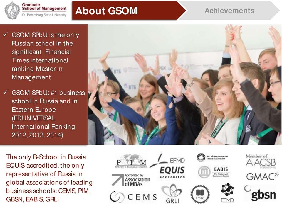 Europe (EDUNIVERSAL International Ranking 2012, 2013, 2014) The only B-School in Russia