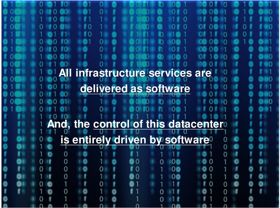 datacenter is entirely driven by software