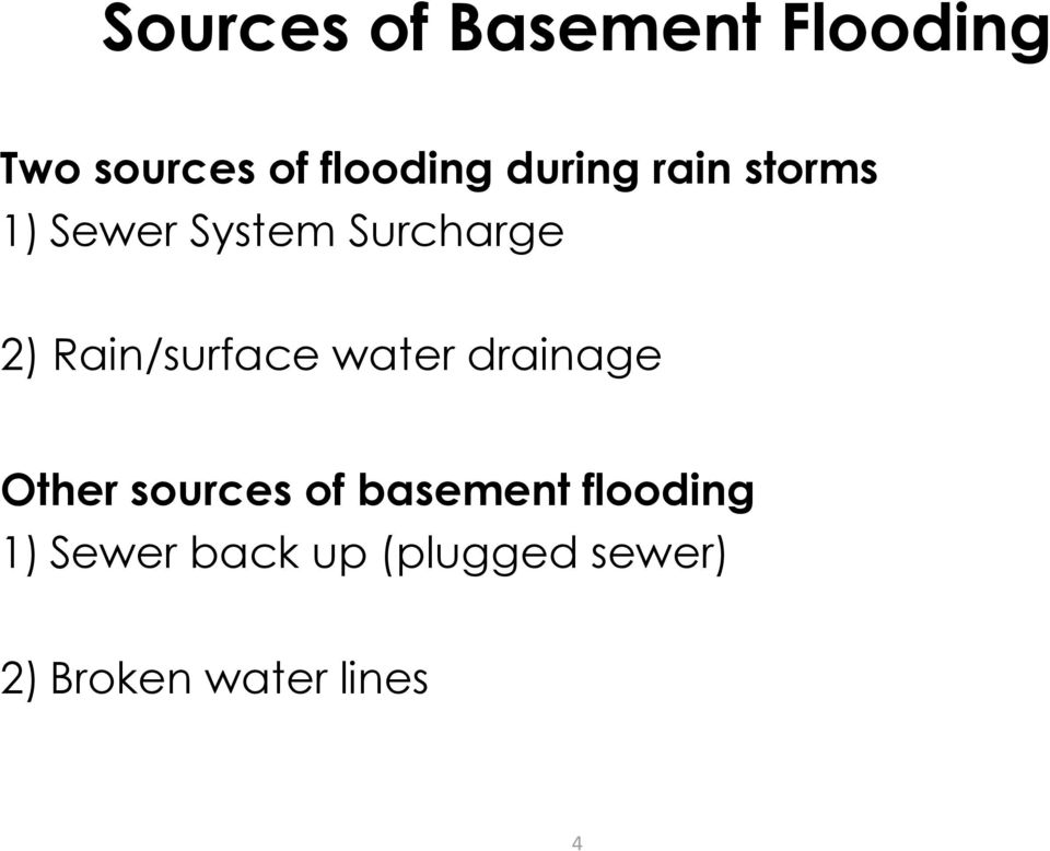 Rain/surface water drainage Other sources of basement
