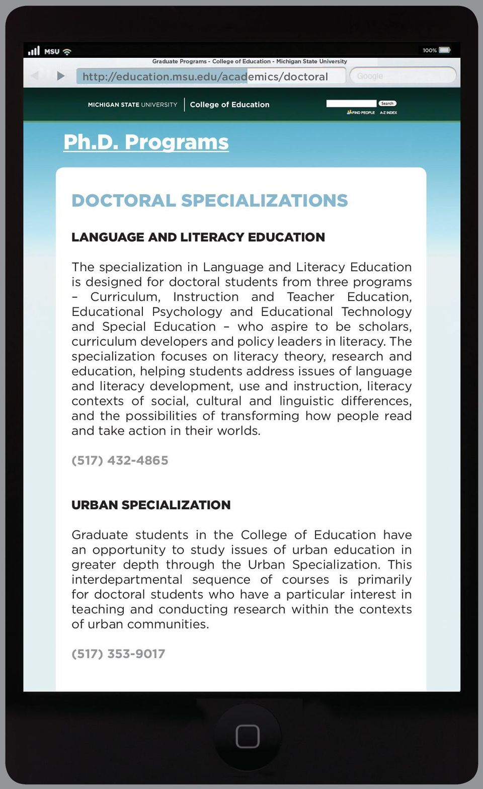 and Teacher Education, Educational Psychology and Educational Technology and Special Education who aspire to be scholars, curriculum developers and policy leaders in literacy.