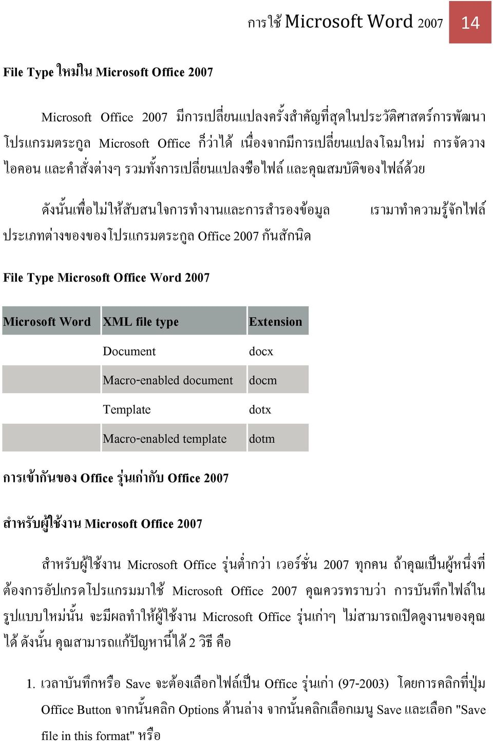 Office 2007 ก นส กน ด File Type Microsoft Office Word 2007 Microsoft Word XML file type Document Macro-enabled document Template Macro-enabled template Extension docx docm dotx dotm การเข าก นของ