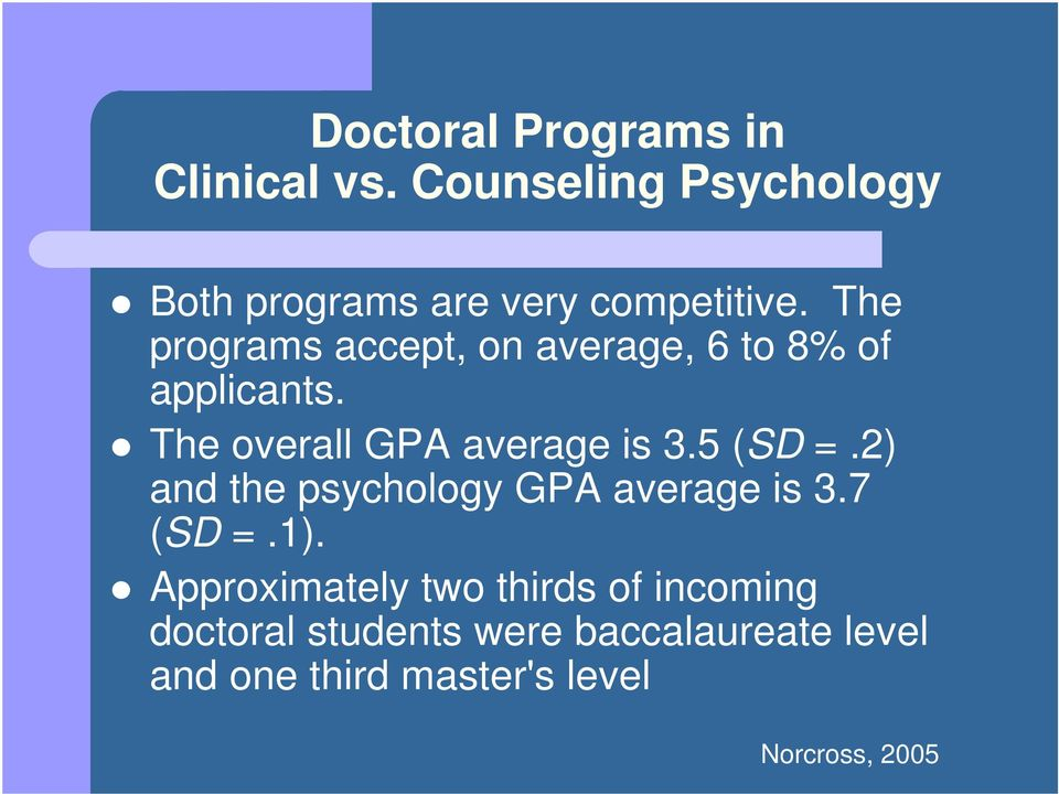 The programs accept, on average, 6 to 8% of applicants. The overall GPA average is 3.