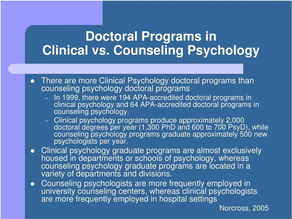 and 64 APA-accredited doctoral programs in counseling psychology.
