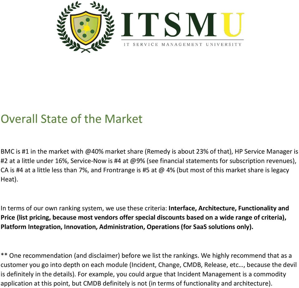 state of the it service management market sitsm release 9 pdf
