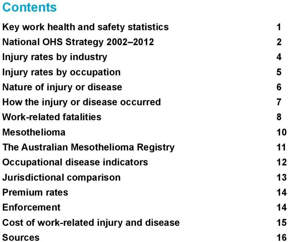 fatalities 8 Mesothelioma 10 The Australian Mesothelioma Registry 11 Occupational disease indicators 12