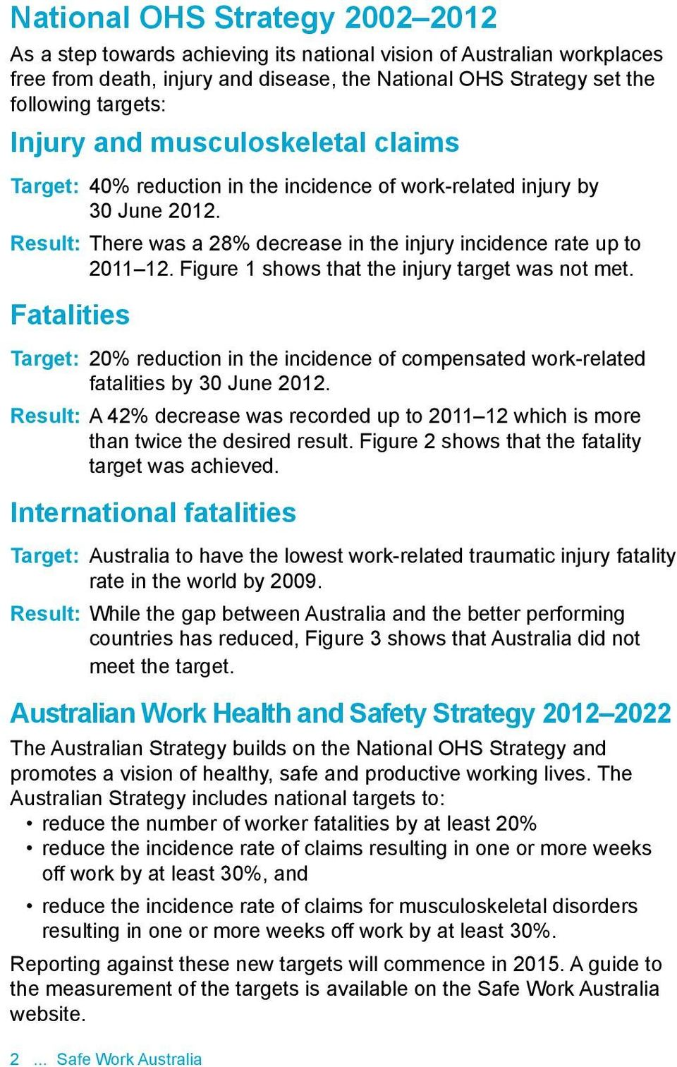Figure 1 shows that the injury target was not met. Fatalities Target: 20% reduction in the incidence of compensated work-related fatalities by 30 June 2012.