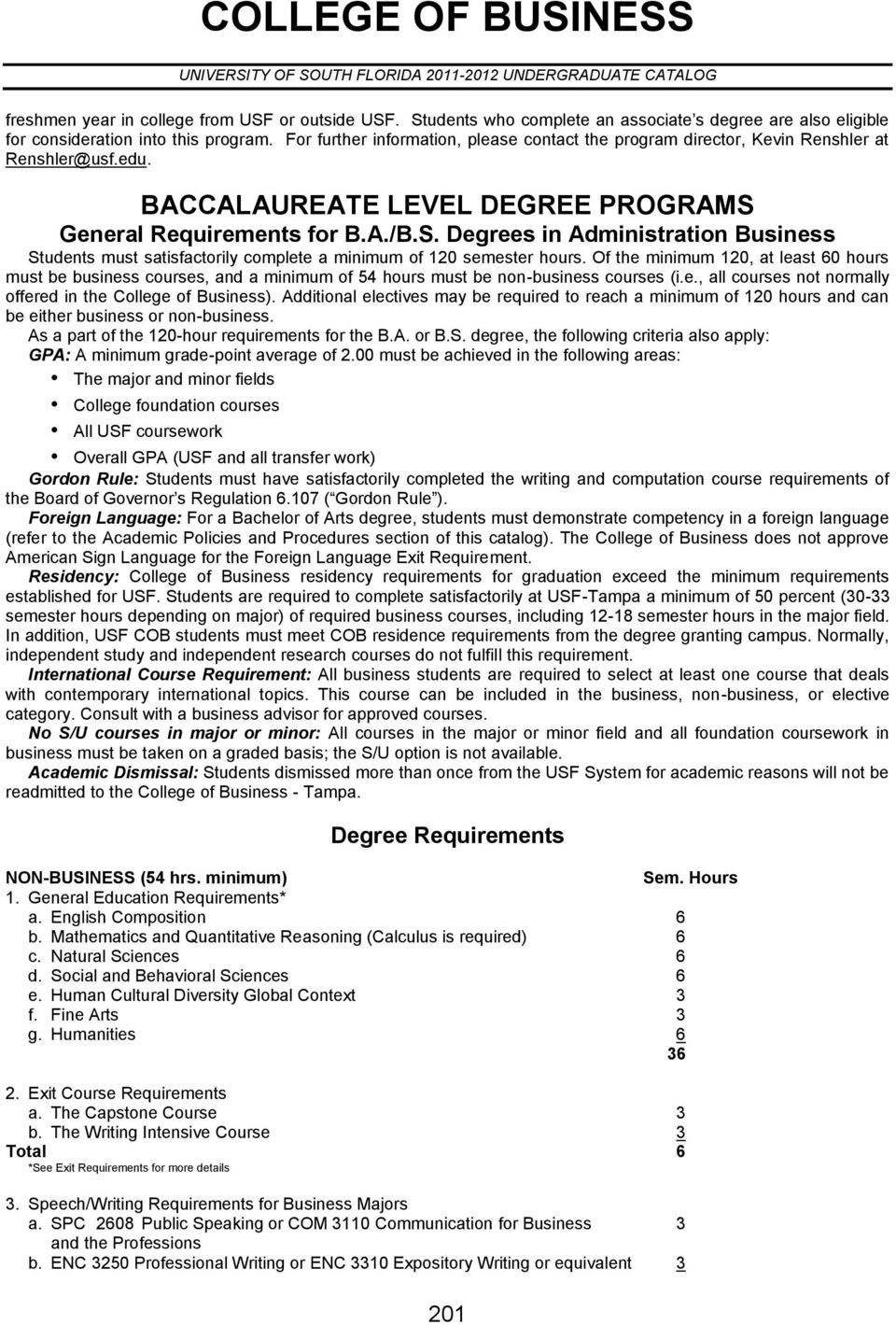 General Requirements for B.A./B.S. Degrees in Administration Business Students must satisfactorily complete a minimum of 120 semester hours.
