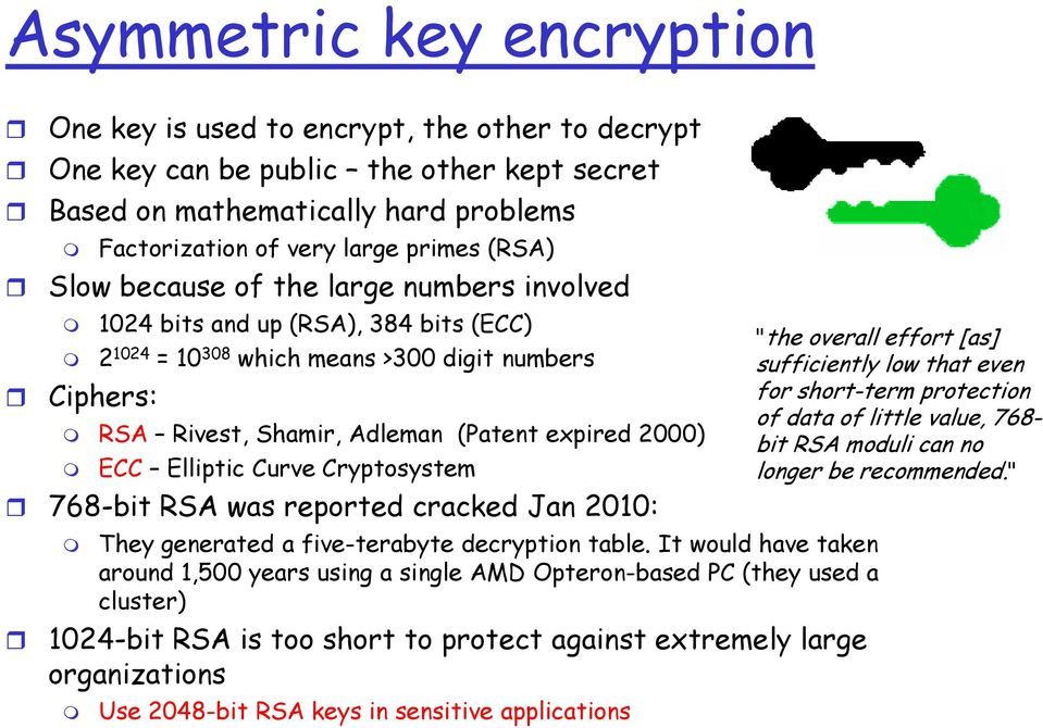 Elliptic Curve Cryptosystem 768-bit RSA was reported cracked Jan 2010: They generated a five-terabyte decryption table.