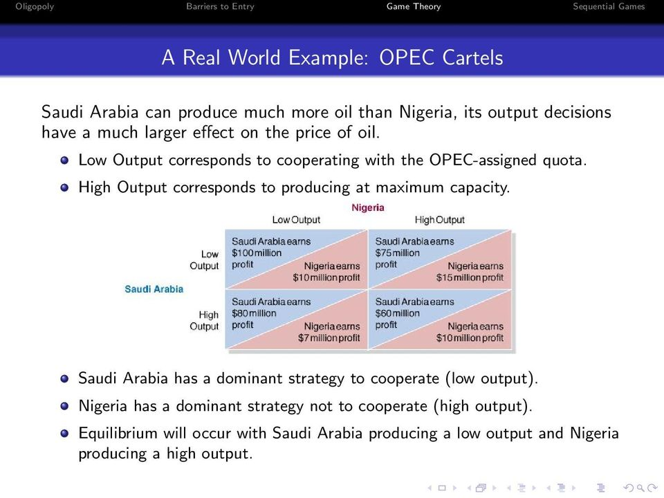 High Output corresponds to producing at maximum capacity. Saudi Arabia has a dominant strategy to cooperate (low output).