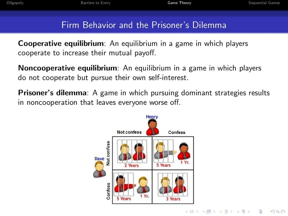 Noncooperative equilibrium: An equilibrium in a game in which players do not cooperate but pursue