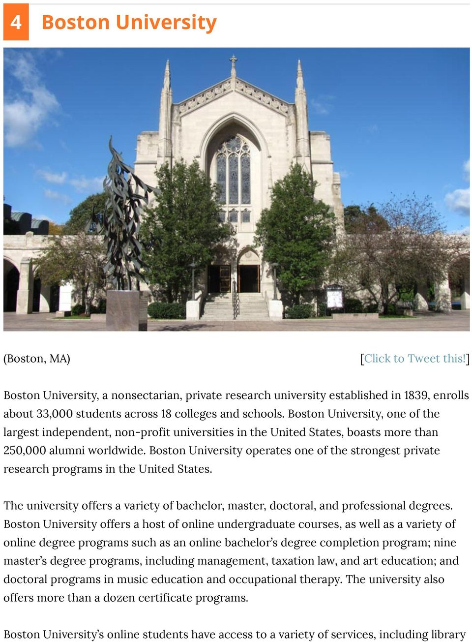 Boston University, one of the largest independent, non-profit universities in the United States, boasts more than 250,000 alumni worldwide.