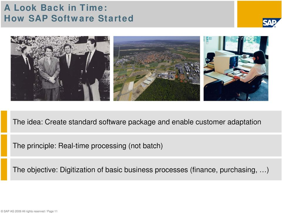 processing (not batch) The objective: Digitization of basic business