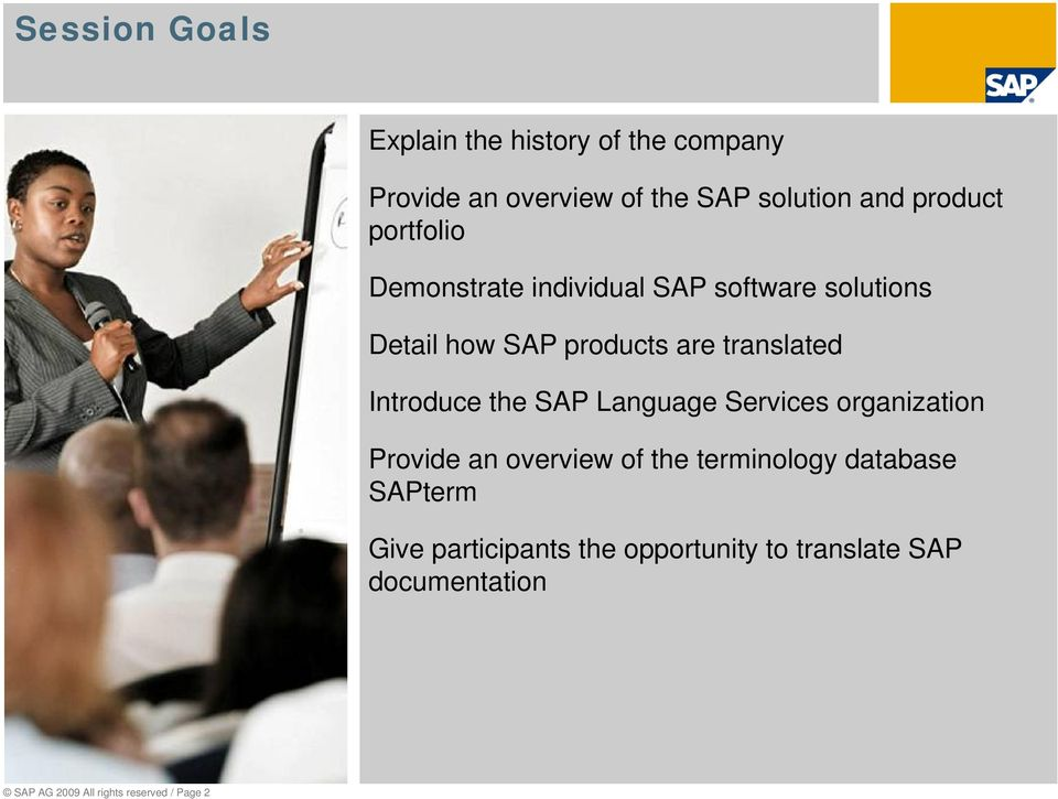 Introduce the SAP Language Services organization Provide an overview of the terminology database