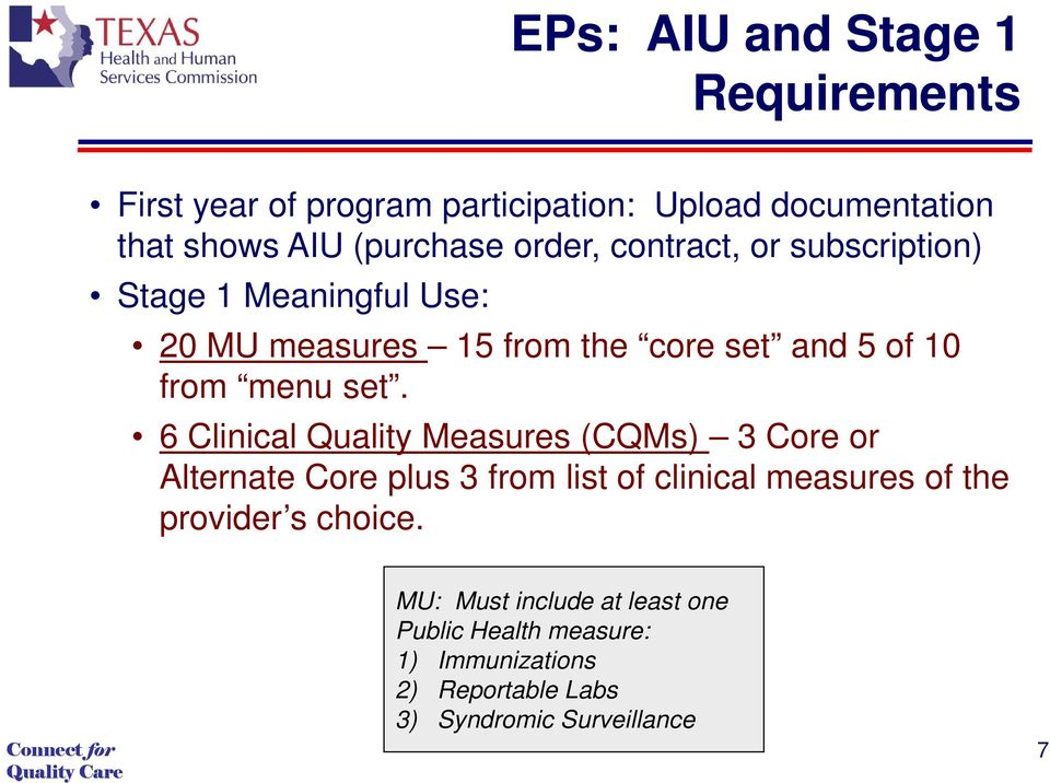 6 Clinical Quality Measures (CQMs) 3 Core or Alternate Core plus 3 from list of clinical measures of the provider s