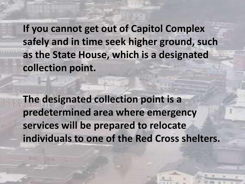 The designated collection point is a predetermined area where emergency