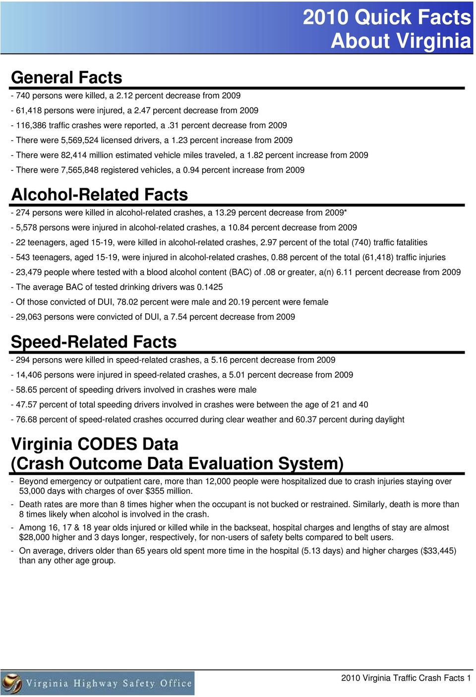 percent increase from Alcohol-Related Facts - persons were killed in alcohol-related crashes, a. percent decrease from * -, persons were injured in alcohol-related crashes, a.