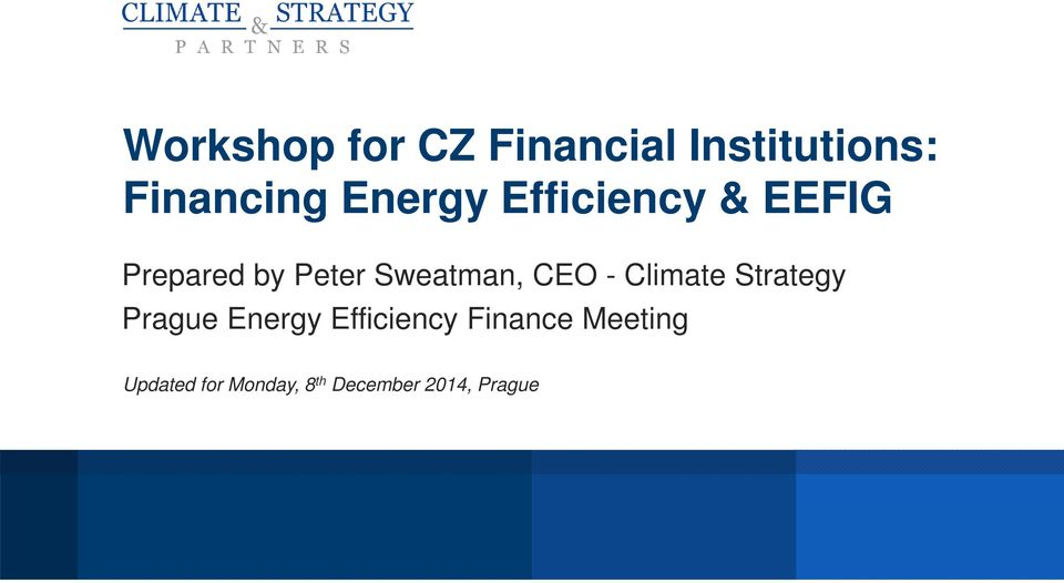 CEO - Climate Strategy Prague Energy Efficiency