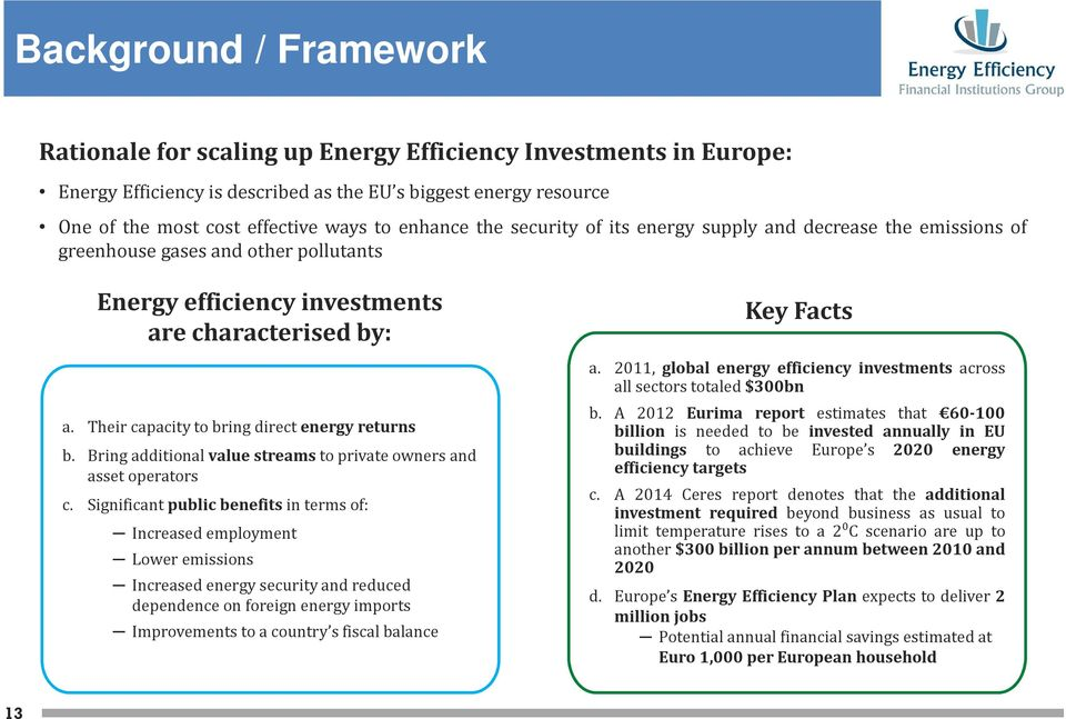 Their capacity to bring direct energy returns b. Bring additional value streams to private owners and asset operators c.