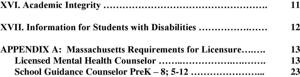 12 APPENDIX A: Massachusetts Requirements for Licensure.
