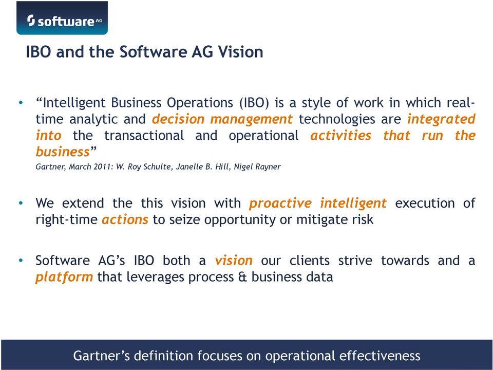 Hill, Nigel Rayner We extend the this vision with proactive intelligent execution of right-time actions to seize opportunity or mitigate risk Software