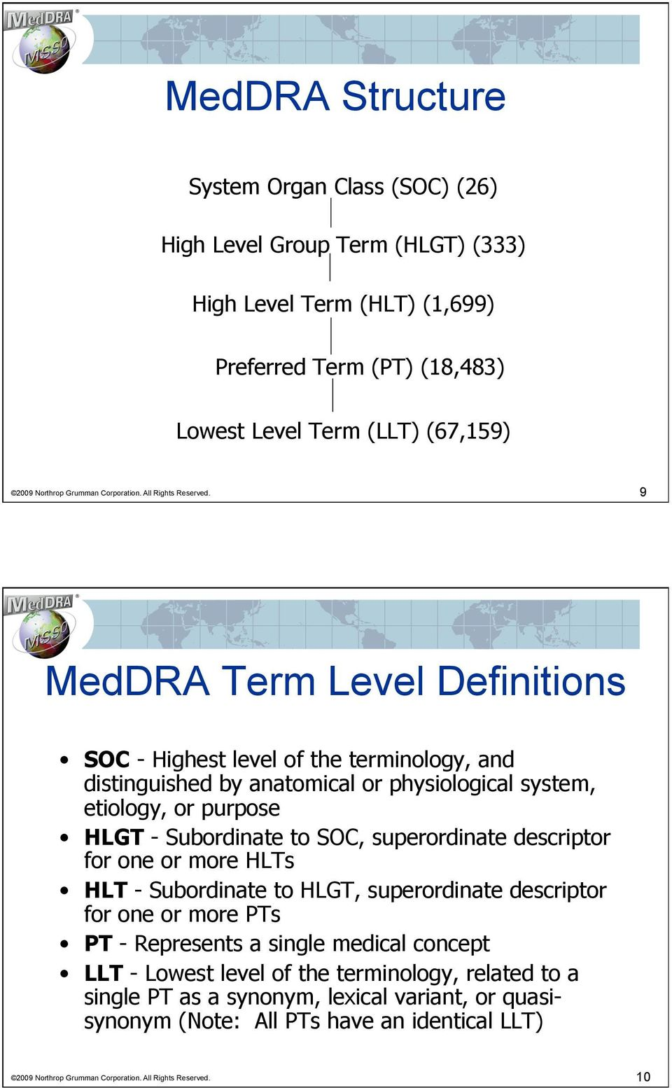 9 MedDRA Term Level Definitions SOC - Highest level of the terminology, and distinguished by anatomical or physiological system, etiology, or purpose HLGT - Subordinate to SOC, superordinate