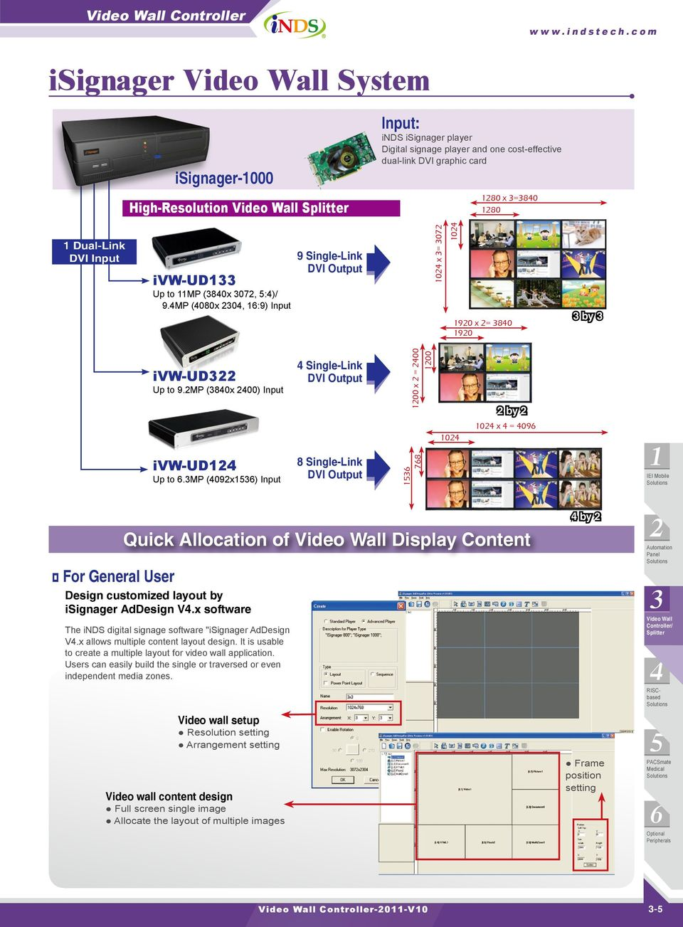 "mp (09x) Single-Link DVI 0 For General User Quick Allocation of Display Content Design customized layout by isignager AdDesign V.x software The inds digital signage software ""isignager AdDesign V."
