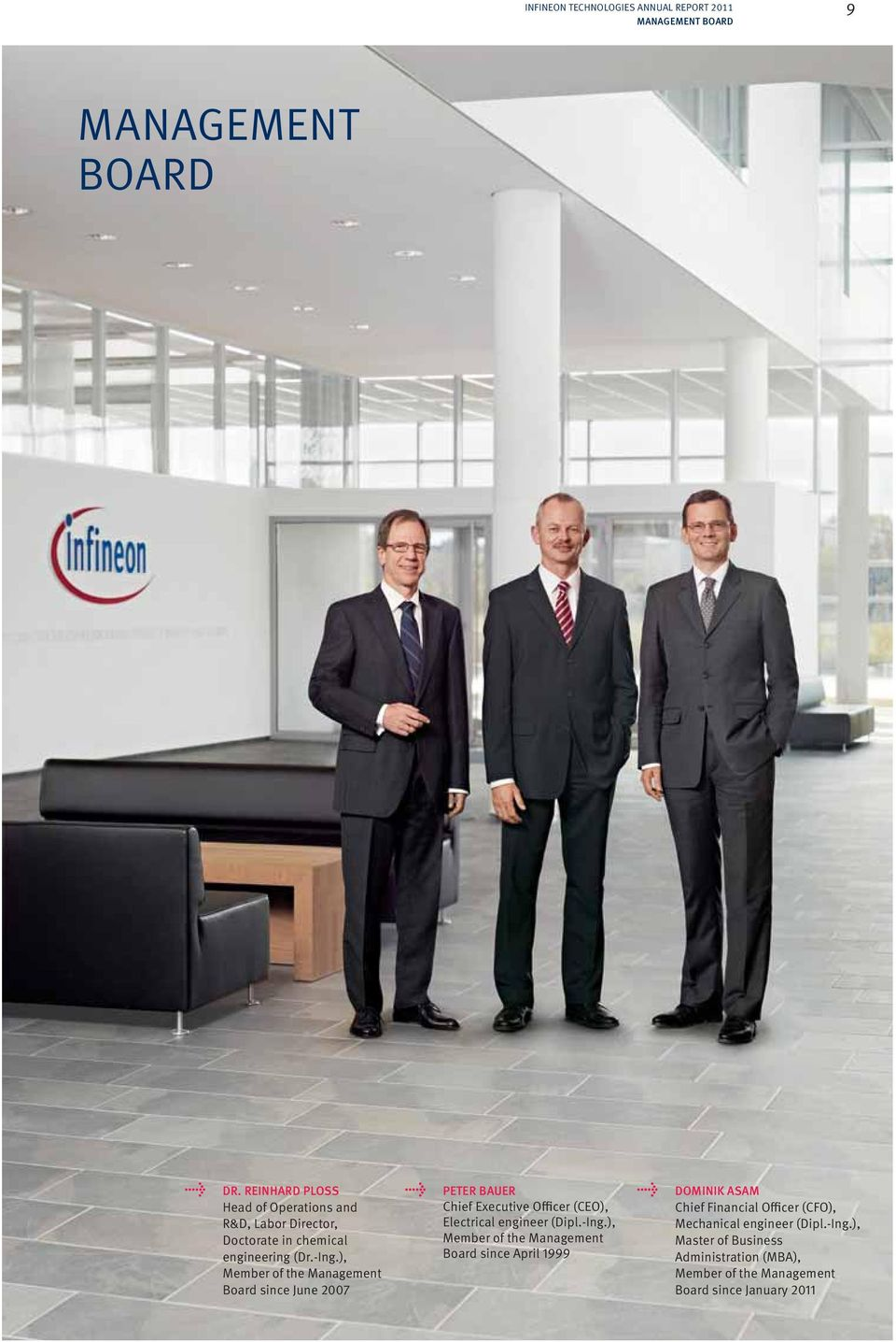 ), Member of the Management Board since June 2007 PETER BAUER Chief Executive Officer (CEO), Electrical engineer (Dipl.-Ing.