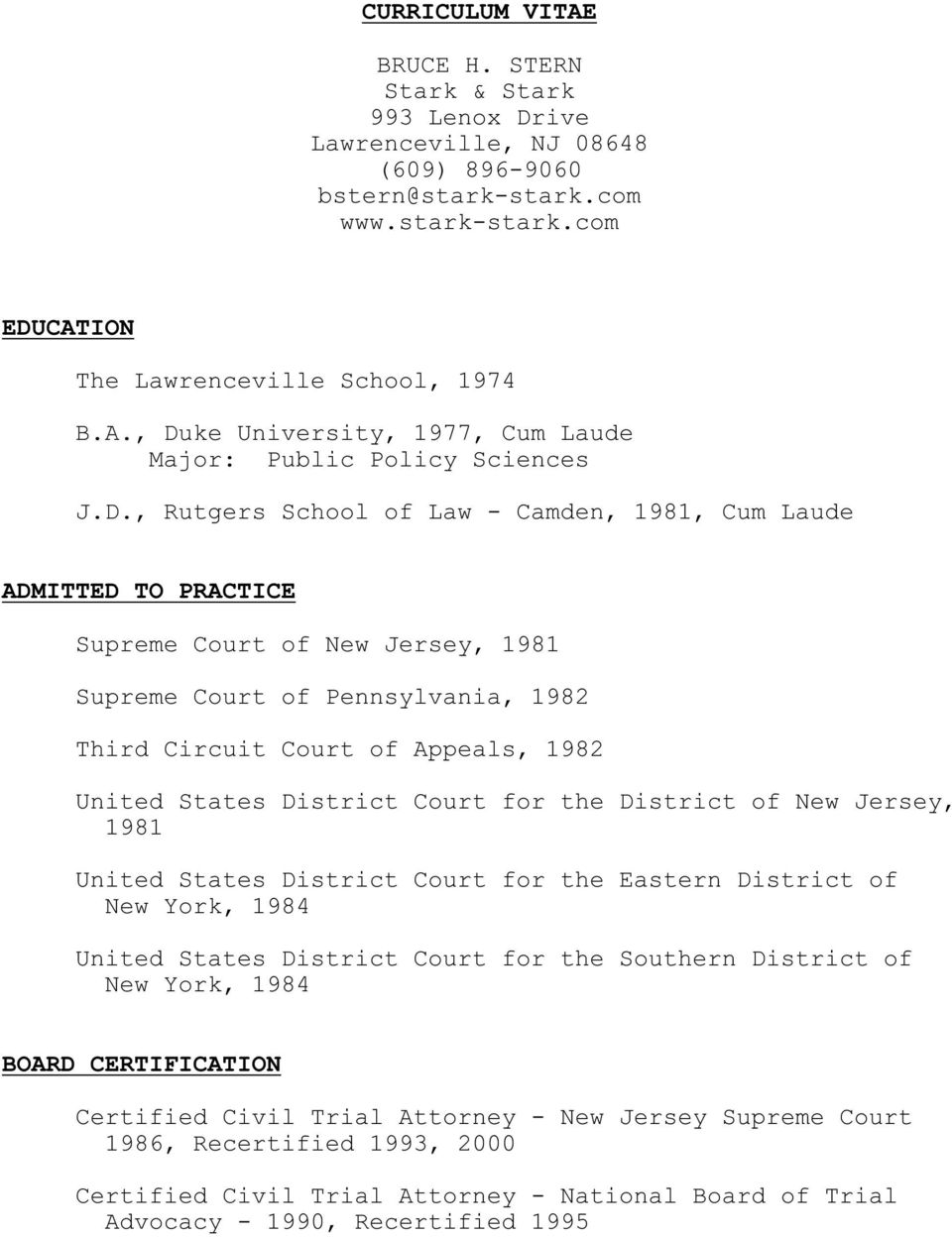 District Court for the District of New Jersey, 1981 United States District Court for the Eastern District of New York, 1984 United States District Court for the Southern District of New York, 1984