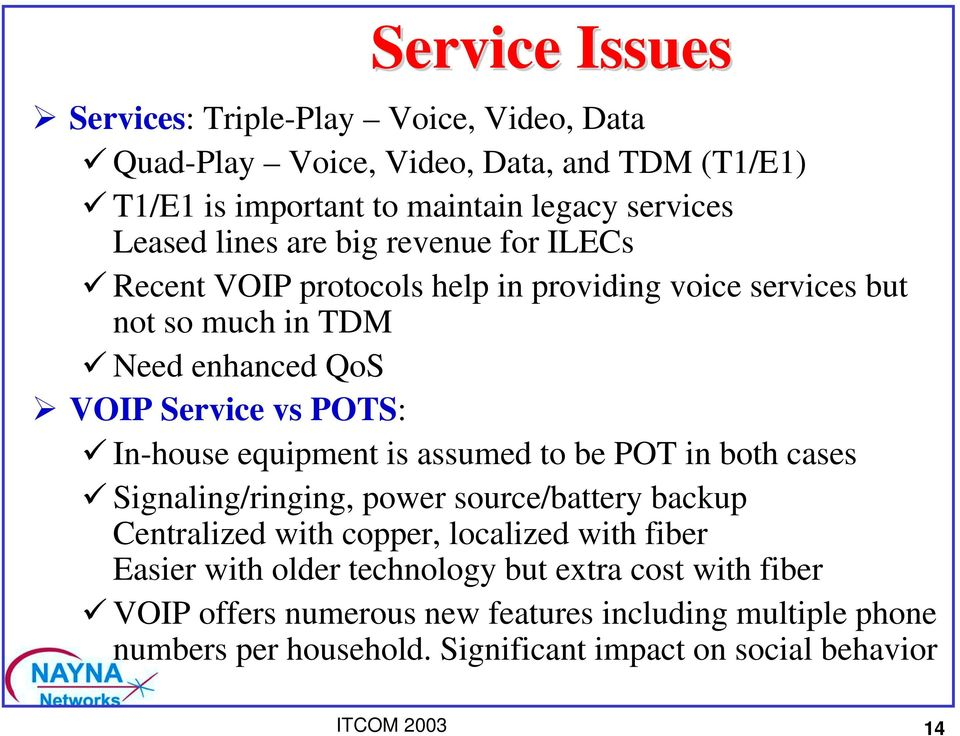 "revenue for ILECs "" Recent VOIP protocols help in providing voice services but not so much in TDM "" Need enhanced QoS!"
