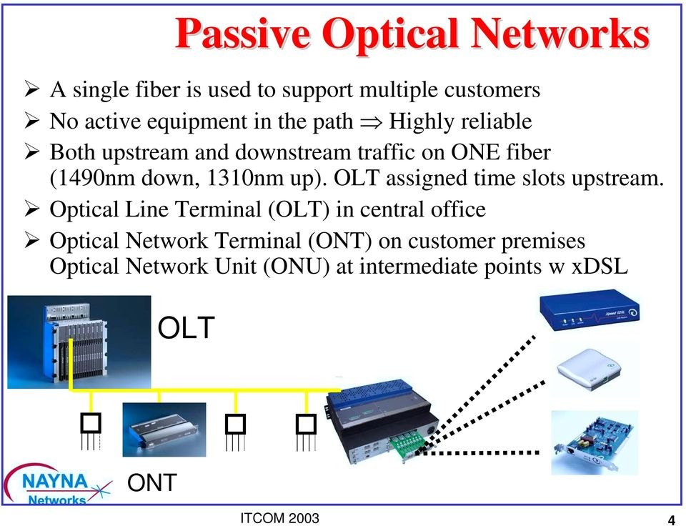 Both upstream and downstream traffic on ONE fiber (1490nm down, 1310nm up).