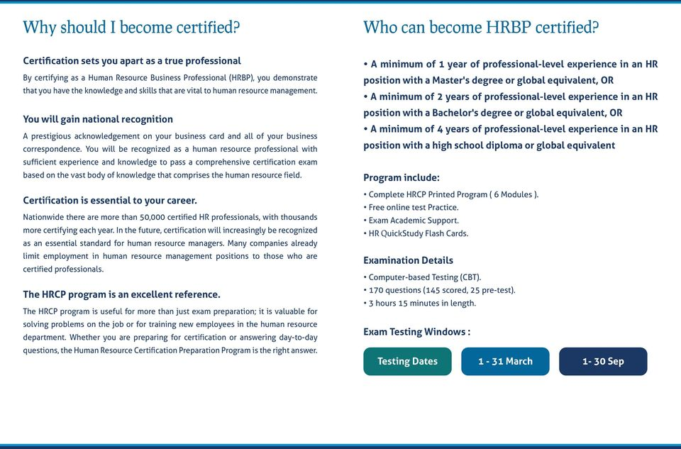 Human Resource Business Professional Certification Hrbp In
