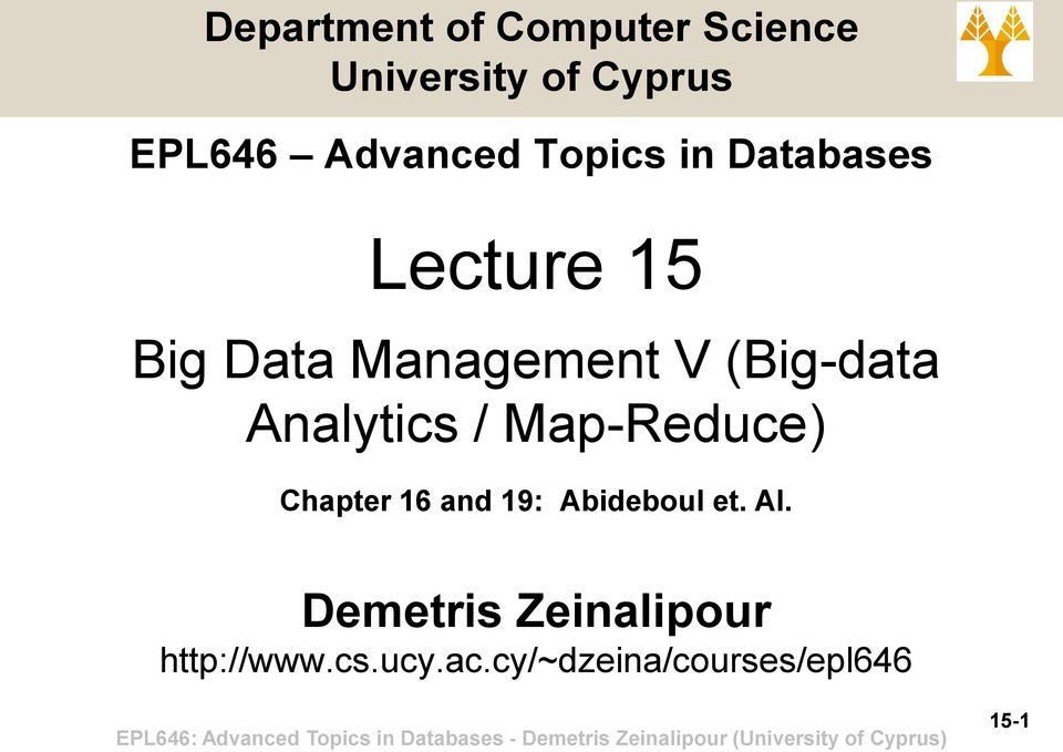 (Big-data Analytics / Map-Reduce) Chapter 16 and 19: Abideboul et.