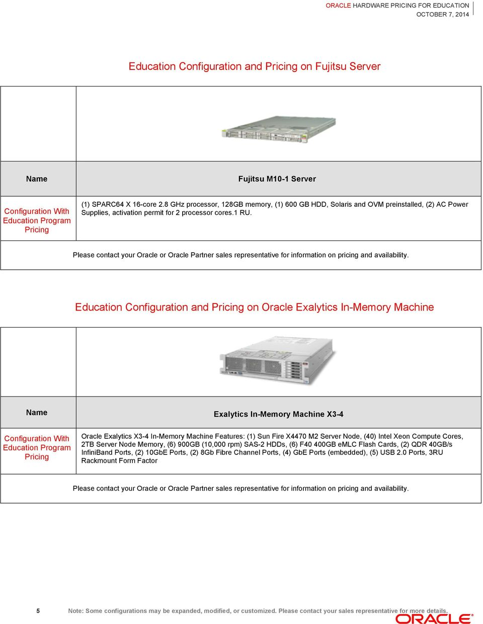 Education Configuration and on Oracle Exalytics In-Memory Machine Exalytics In-Memory Machine X3-4 Oracle Exalytics X3-4 In-Memory Machine Features: (1) Sun Fire X4470 M2 Server Node, (40) Intel Xeon