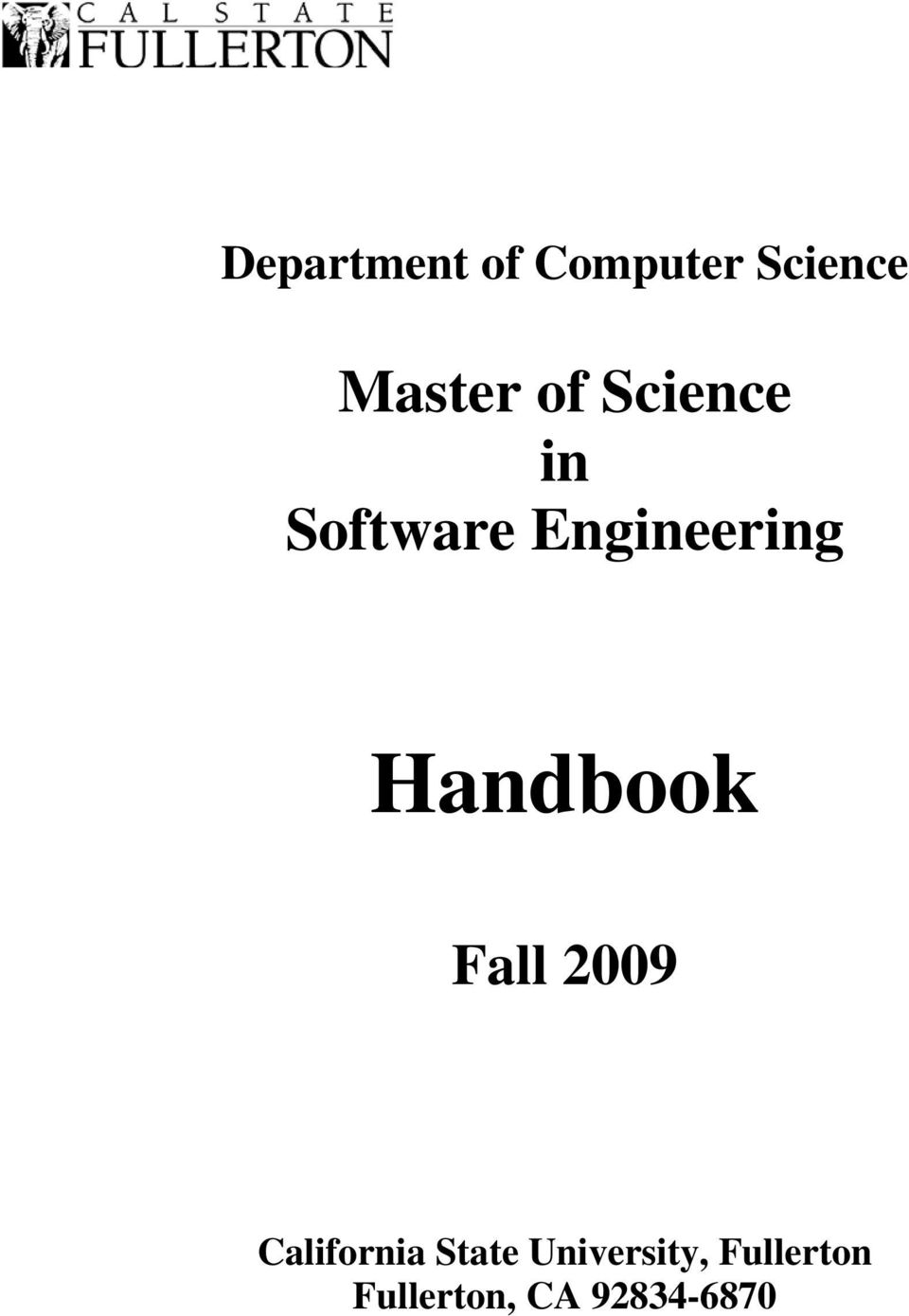 Handbook Fall 2009 California State