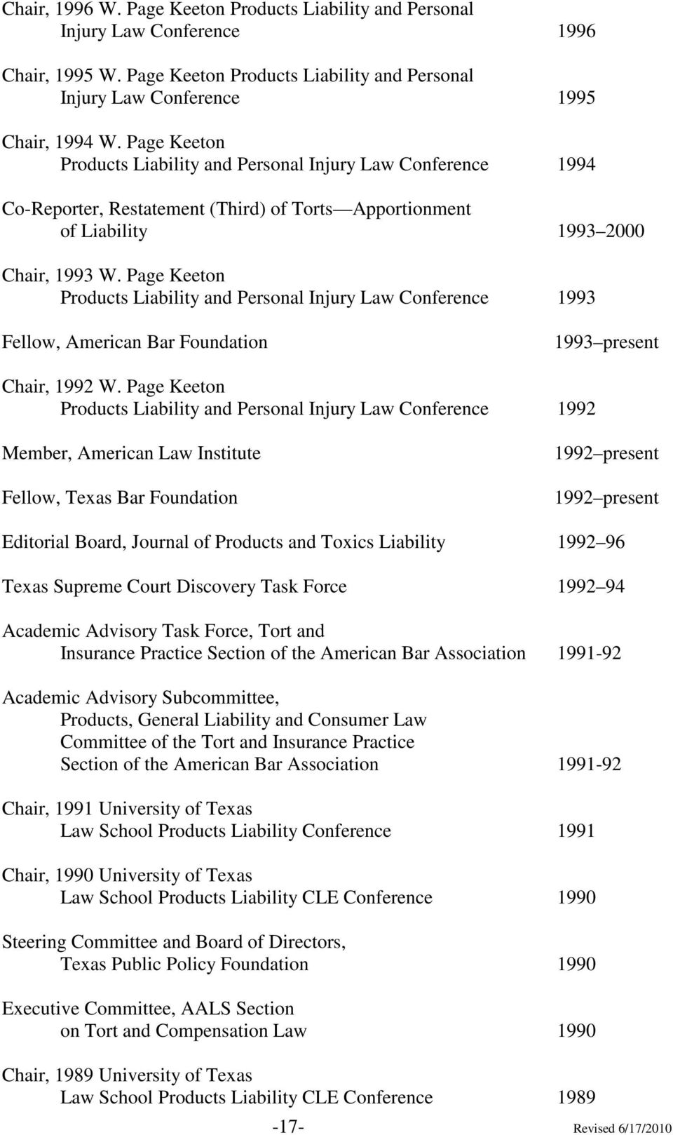 Page Keeton Products Liability and Personal Injury Law Conference 1993 Fellow, American Bar Foundation 1993 present Chair, 1992 W.